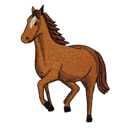 - ID 0726Z Wild Horse Jumping Patch Farm Animal Mare Embroidered Iron On Applique