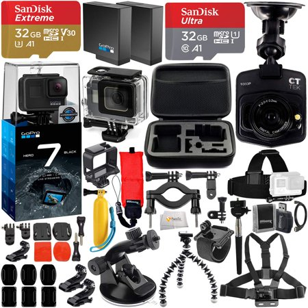 GoPro HERO7 Hero 7 Black Bundle with Free Promotional Car Dash Cam!  Includes - 2X SanDisk Ultra 32GB microSDHC + Hard-Shell Case + Head Strap &  Chest