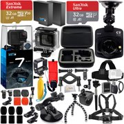 GoPro HERO7 Hero 7 Black Bundle with Free Promotional Car Dash Cam! Includes - 2X SanDisk Ultra 32GB microSDHC + Hard-Shell Case + Head Strap & Chest Strap with Mounts + More