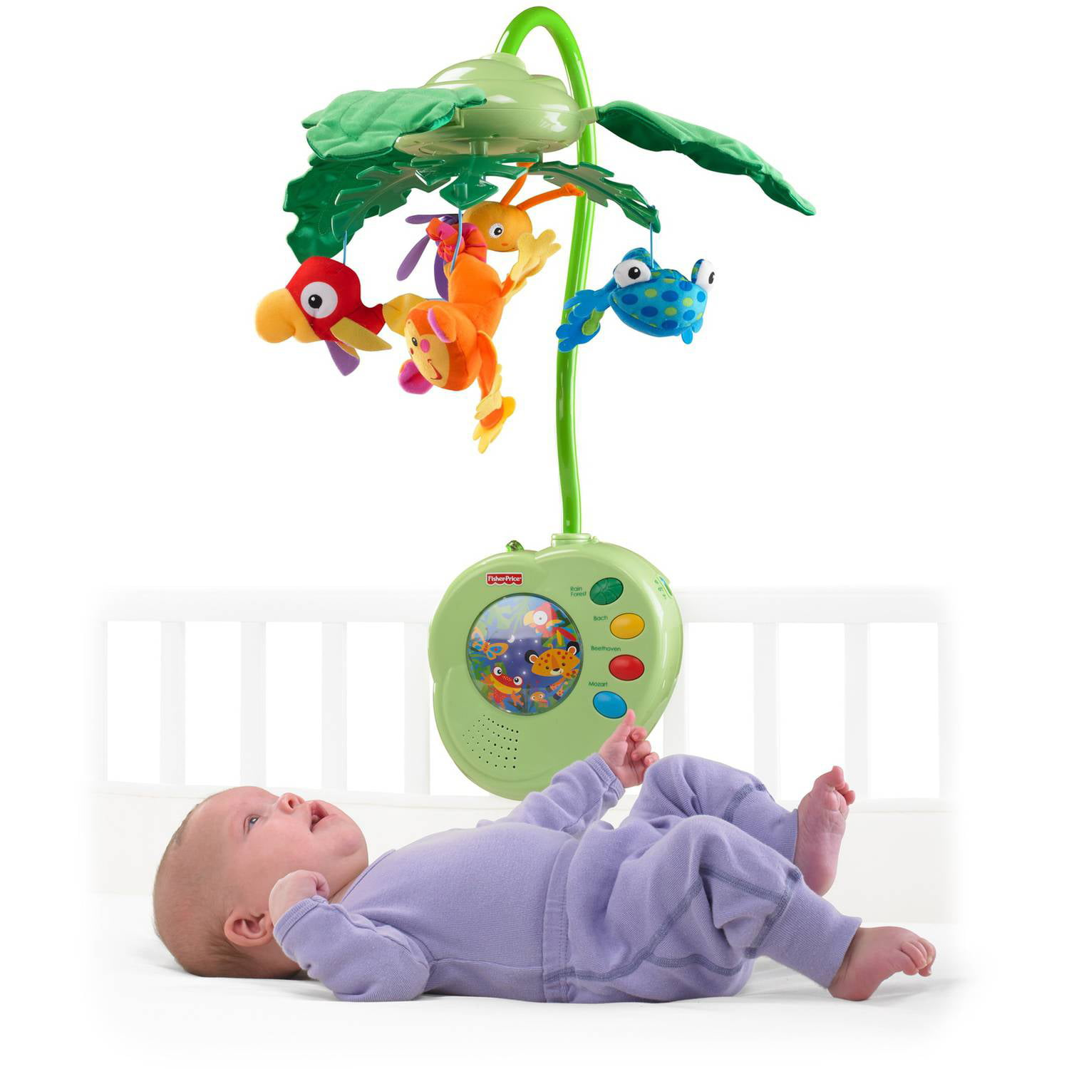 3ed38848e48 Fisher-Price Rainforest Peek-a-Boo Leaves Musical Mobile - Walmart.com
