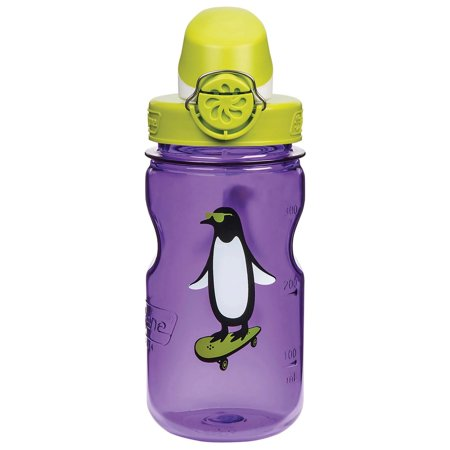Penguin Bottle - Nalgene Kids Penguin OTF Bottle, 12 oz, Purple/Gray - Nalgene