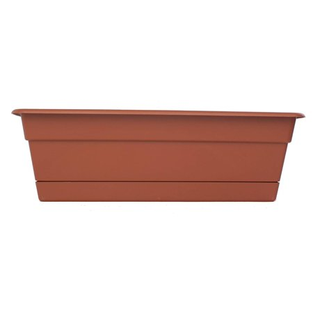DCBT24-46 Dura Cotta Plant Window Box, 24-Inch, Terra Cotta, Inspired by classic clay pots, the Dura Cotta Planter is made from durable polypropylene By Bloem