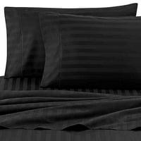 Wamsutta Damask Stripe 500-Thread-Count PimaCott Queen Sheet Set in Black