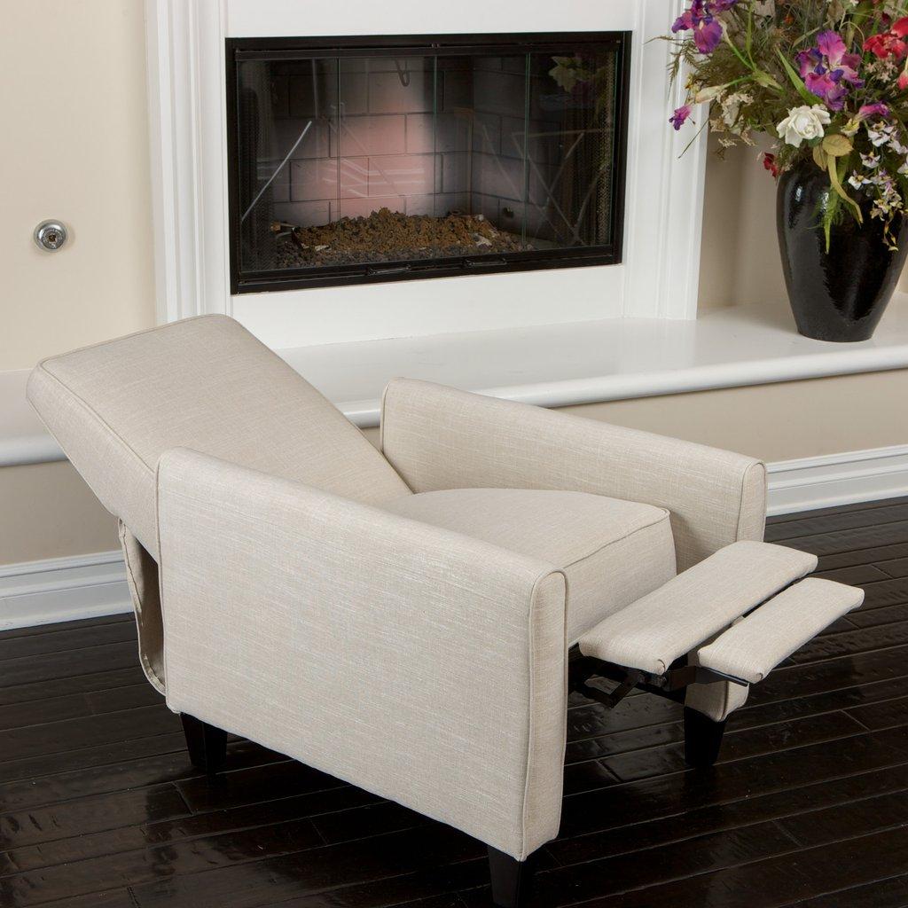 Benton Light Beige Fabric Recliner Club Chair