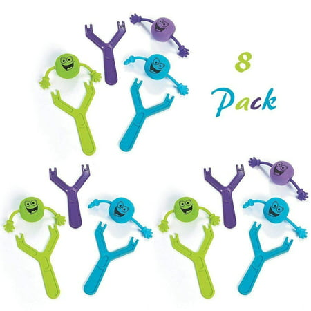 Best Party Favor Slingshot Toys | Pack Of 8 | Finger Flinger Emoji Toys | Plastic Flying Toy For Kids Party Favor- Bag Stuffers, Fun, Party, Games, Gift, Prize, Kids toys, etc.- By