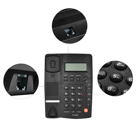 Desktop Corded Telephone Phone with LCD Display Caller Volume Adjustable Calculator Alarm Clock for House Home Call Center Office Company Hotel - image 3 of 7