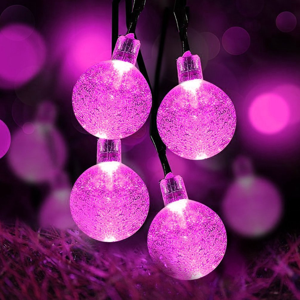 Qedertek Christmas String lights Solar Outdoor String Lights 19.7ft 30 LED Crystal Ball Solar Powered Globe Fairy Lights for Garden Fence Path Landscape Decoration (Pink)