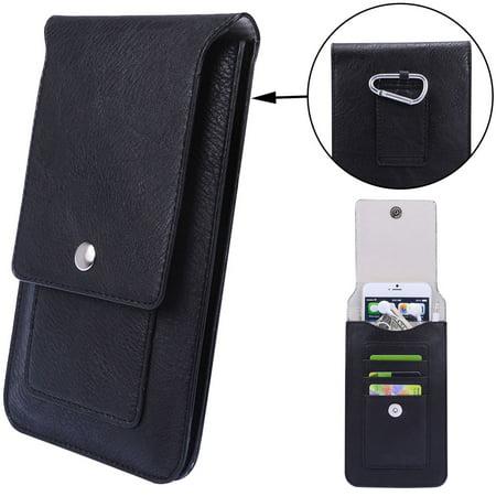 3bf9e5539668 Professional Vegan Leather Vertical Smartphone Holster Wallet (Black) with  Belt Loop, Removable Carabiner, Card Slots - fits Smartphones up to ...