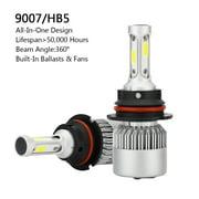 Areyourshop NEW 2PCS 9007 All-in-One LED Headlight 72W 8000LM COB Bulbs Kit Hi/Lo Beam 6000K 2PCS 9007 72W 8000LM All-in-One LED Headlights Kit Hi/Lo Power COB Bulbs 6000K