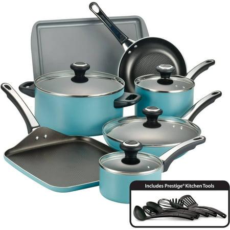 Farberware High-Performance Nonstick Aluminum 17-Piece Cookware Set, Aqua