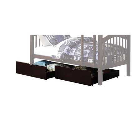 Benzara BM205609 Cottage Style Under Bed Wooden Drawers with Casters, Brown - 2 Piece Cottage Style Bed