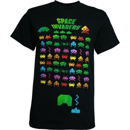 Space invaders faded color blend grid t shirt for Faded color t shirts