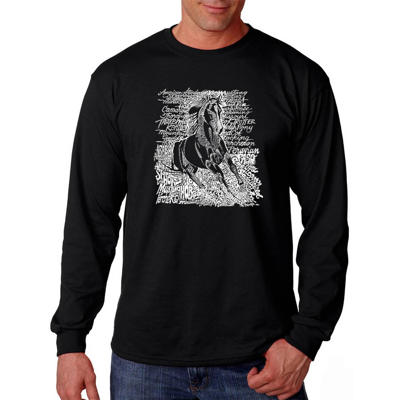 Los Angeles Pop Art Big Men's Long Sleeve T-shirt - Popular Horse Breeds