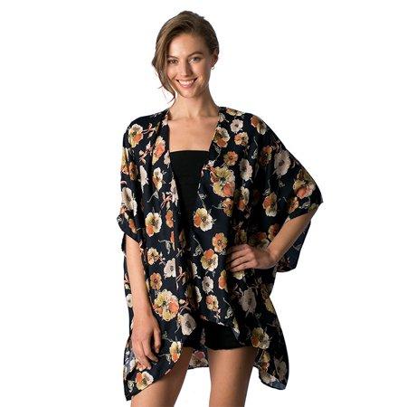 Womens Floral Pattern Design Print Kimono Oversize Outerwear for Spring Summer (Kimono Jacket Pattern)