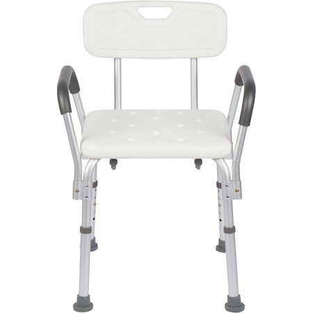 Padded Vinyl Shower Chair - Zimtown Shower Chair with Arms - Strong, Secure Bathtub Chair & Shower Bench with Non-Slip Feet & Padded Arms