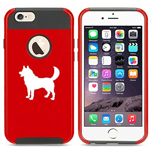 For Apple iPhone 7 Shockproof Impact Hard Soft Case Cover Husky Dog (Red)
