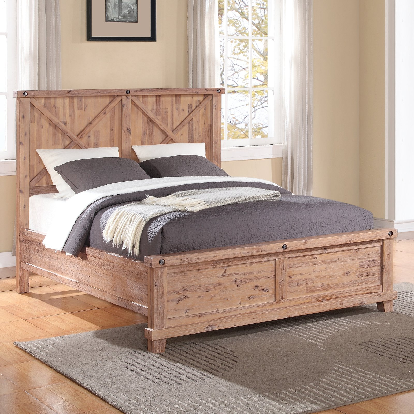 Yosemite Solid Wood Panel Bed