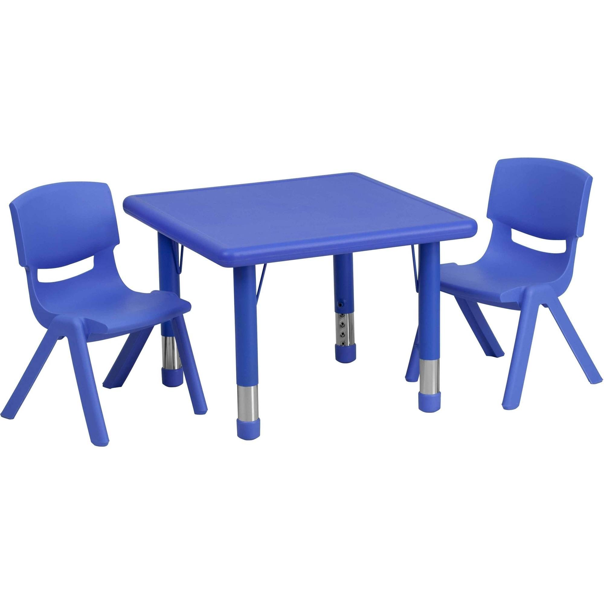 Flash Furniture 24'' Square Adjustable Plastic Activity Table Set in Multiple Colors with 2 School Stack Chairs
