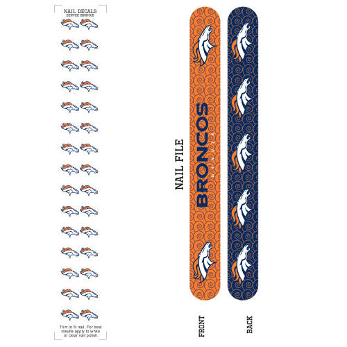 Bundle 2 Items: Denver Broncos Nail File and Nail Sticker Decals