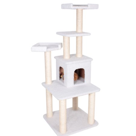 "Majestic Pet Products 64"" H Bungalow Sherpa Cat Tree"