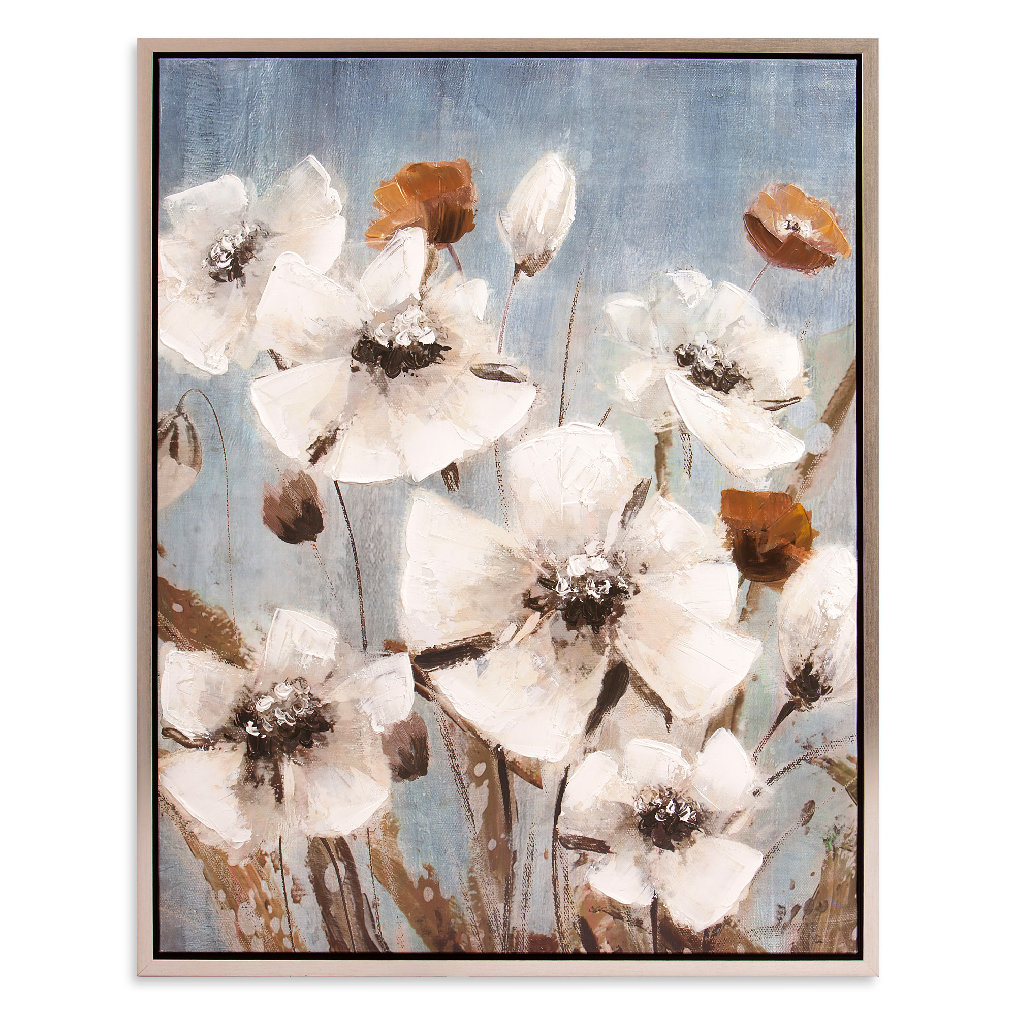 Patton Wall Decor White Poppy Field Floral Framed Canvas Art by Patton Wall Decor