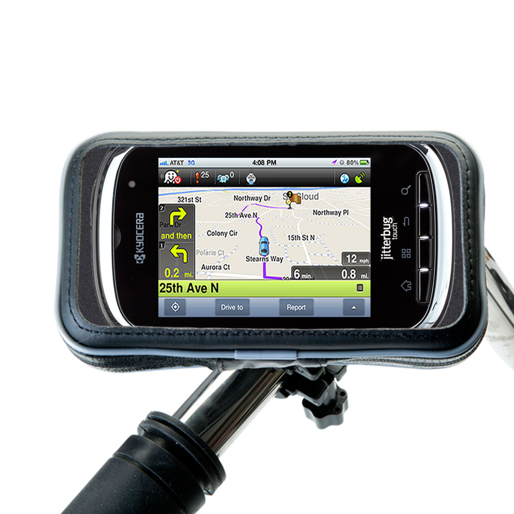 Heavy Duty Weather Resistant Bicycle / Motorcycle Handlebar Mount Holder Designed for the Jitterbug Touch