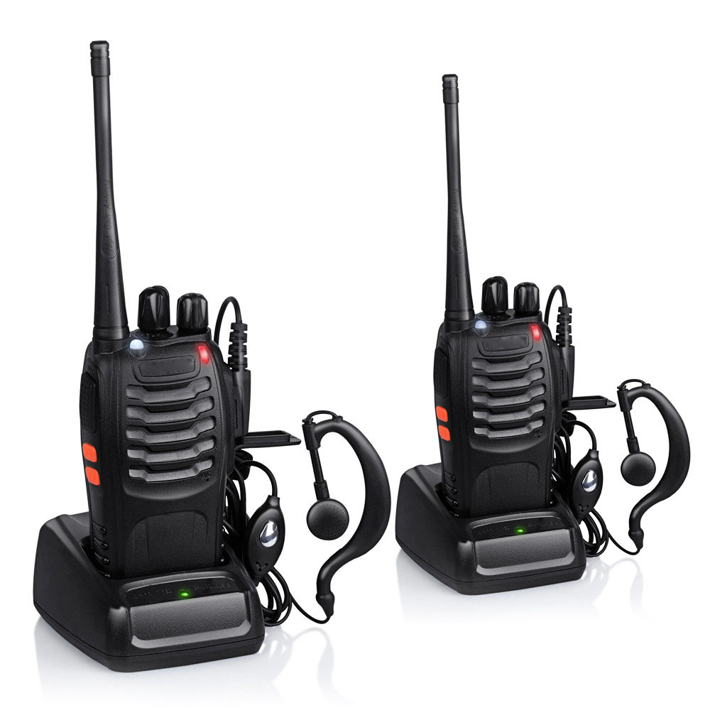 Zimtown 2Pcs Baofeng BF-888S 5W 400-470MHz 16CH Handheld Walkie Talkies + Free Headset