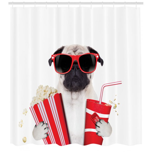 Pug Shower Curtain Going To The Movies Dog Popcorn Soft Drink Movie Star Glasses Animal Fun Image Fabric Bathroom Set With Hooks Cream Red Black By Ambesonne Walmart Com