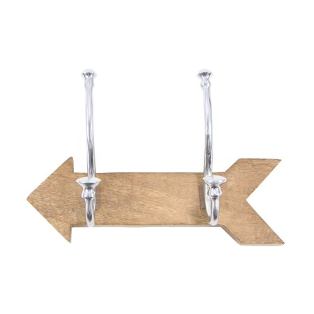 Decmode Contemporary 7 X 12 Inch Classy Arrow-Shaped Aluminum And Mango Wood Wall Hook, - Shaped Mango Wood