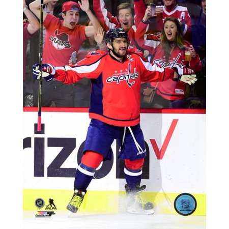 Alex Ovechkin celebrates his 1000th career NHL point against the Pittsburgh Penguins at Verizon Center on January 11 2017 in Washington DC Photo Print - Halloween Movies On Tv 2017