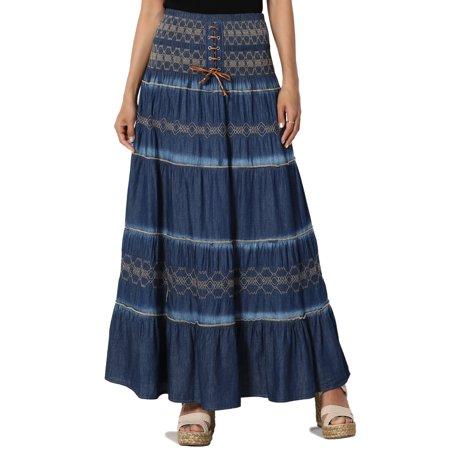 TheMogan Junior's Embroidered Tiered Chambray Maxi Skirt Denim Tube Midi (Tiered Denim Skirt)