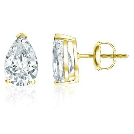 Auriya  18K Yellow Gold 2Ct Tdw Pear Shape Diamond Stud Earrings