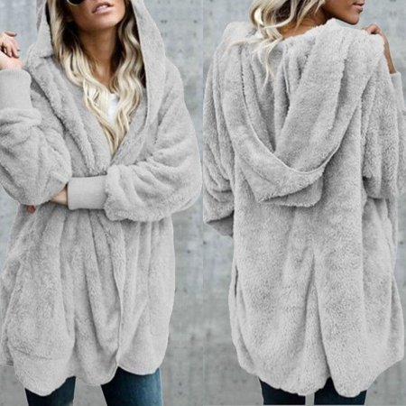 Womens Long Sleeve Winter Top Fur Cardigan Sweater Jumper Knitted Coat (Fur Trim Sweater Jacket)