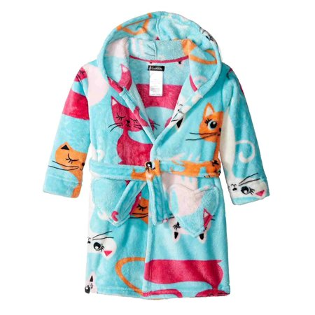 Cuddl Duds Girls Blue Kitty Cat Print Bathrobe Bath Robe Kitten House Coat