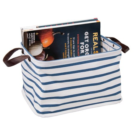 InterDesign Collapsible Riley Medium Storage Bin, Blue/White