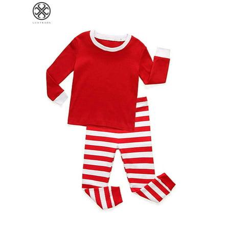 Luxtrada Charm Kingdom Little Boys Girls Long Sleeve Top and Stripe Pants Family Christmas Pajamas Sets Long Sleeve Striped Pajamas