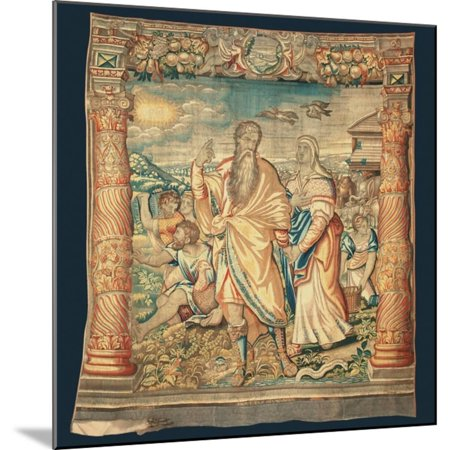 Tapestry Depicting the Descent from the Ark and the Series of the Life of Noah Wood Mounted Print Wall Art By Paulus van Nieuwenhove