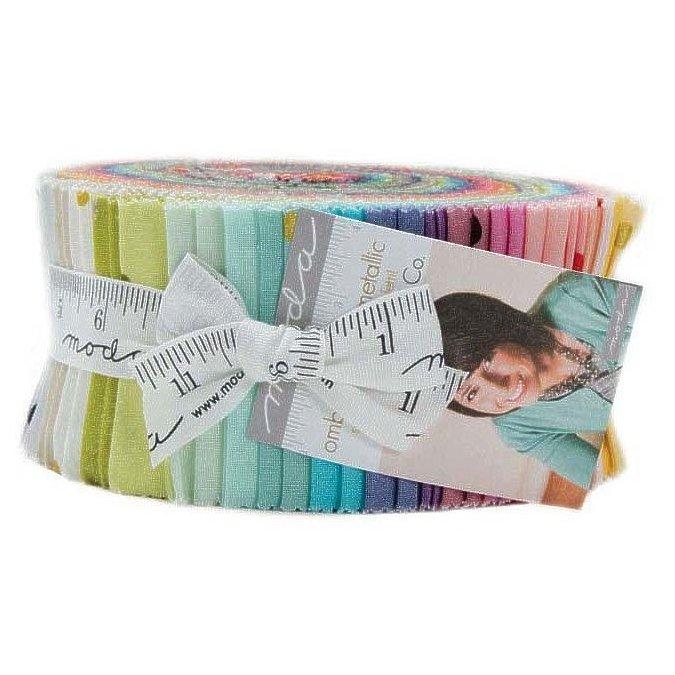 "Ombre Confetti Metallic Jelly Roll - 2.5"" Cotton Strips by V & Co For Moda"