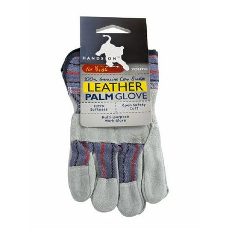 LP4310-Y, Kids Premium Cow Split Leather Palm Work Glove All Weather Leather Gloves