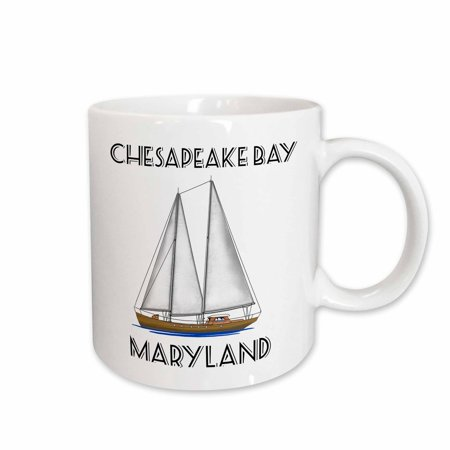 Sailing Chesapeake Bay - 3dRose A sailboat nautical art for sailing Chesapeake Bay, Maryland. - Ceramic Mug, 11-ounce