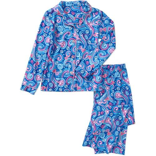 Faded Glory Girls' 2-Piece Button Down Coat Pajama Set