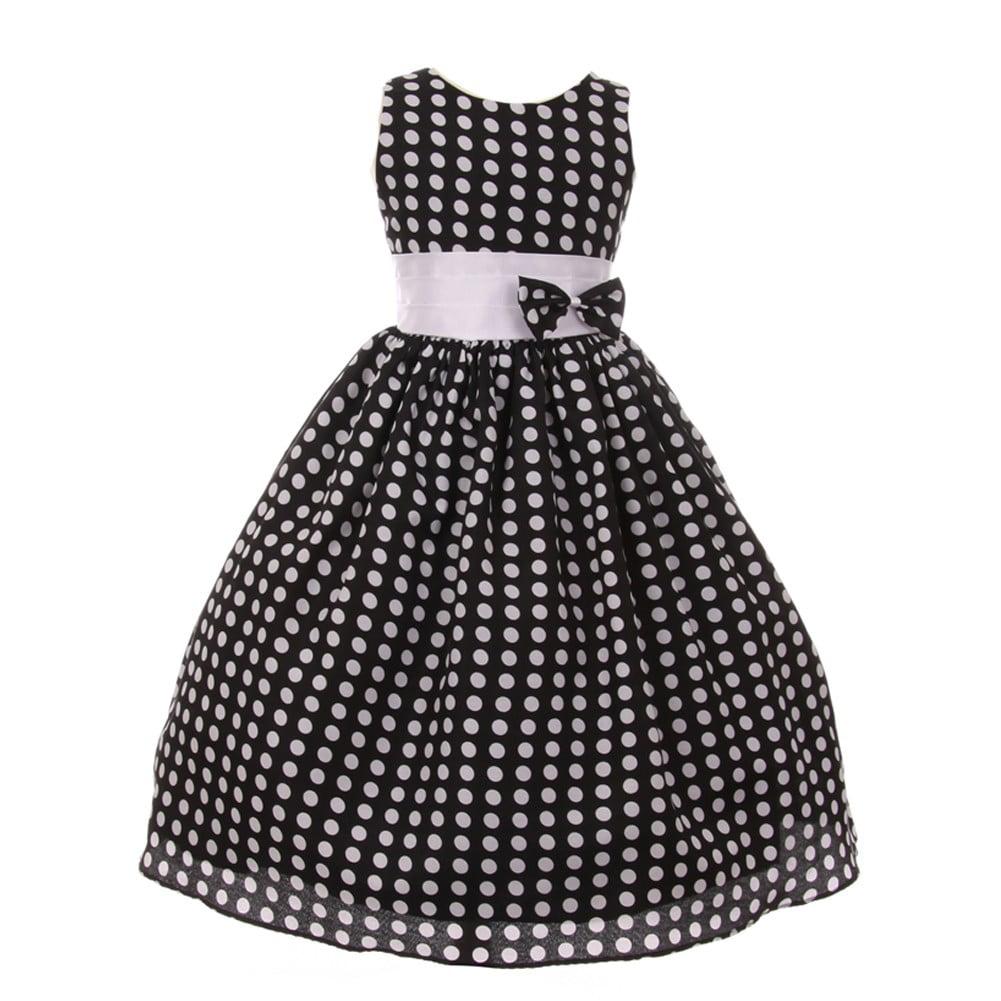 Little Girls Black White Polka Dot Pattern Bow Sleeveless...