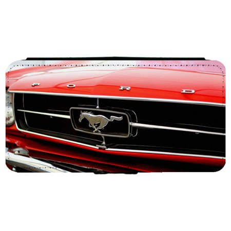Ford Mustang Pony Logo Classic Car Apple Iphone 6 Plus   6S Plus  5 5 Inch  Leather Flip Phone Case