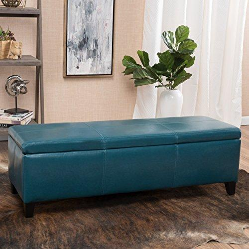 Modern Faux Leather Upholstery Storage Bench with Solid Wood Frame (Teal)