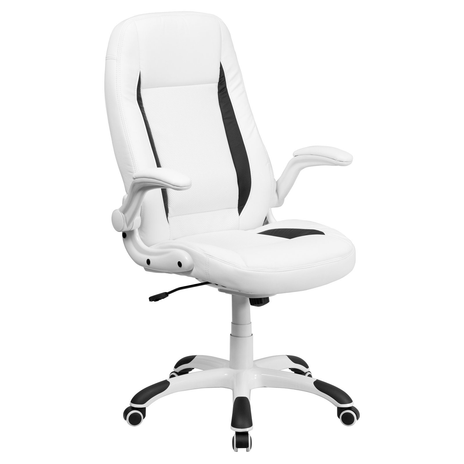 Flash Furniture High Back Leather Executive Office Chair with Flip-Up Arms, White