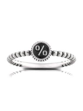 Bixler Alphabet Beaded Shank '%' Ring In Sterling Silver