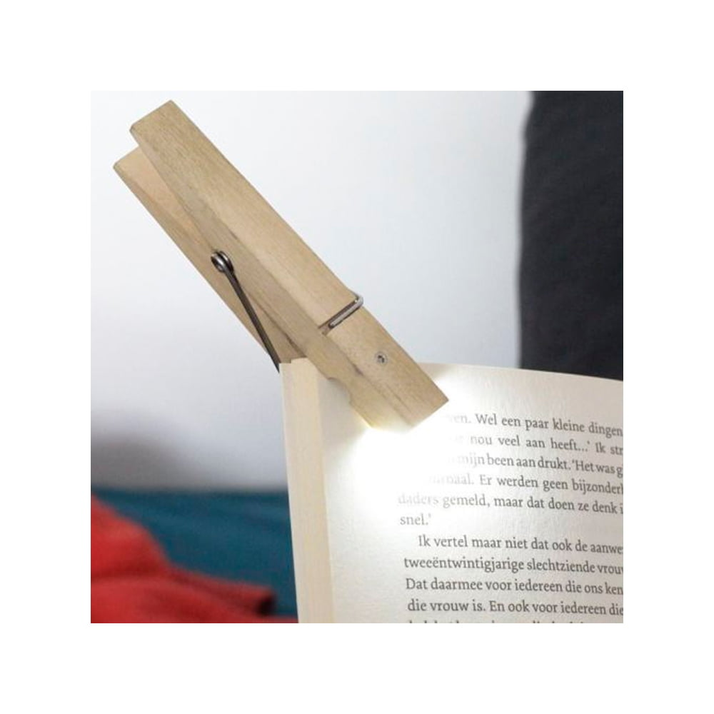 Kikkerland Reading Book Light Clothespin Clothes Peg Clip On Tablet Travel Gift by Kikkerland