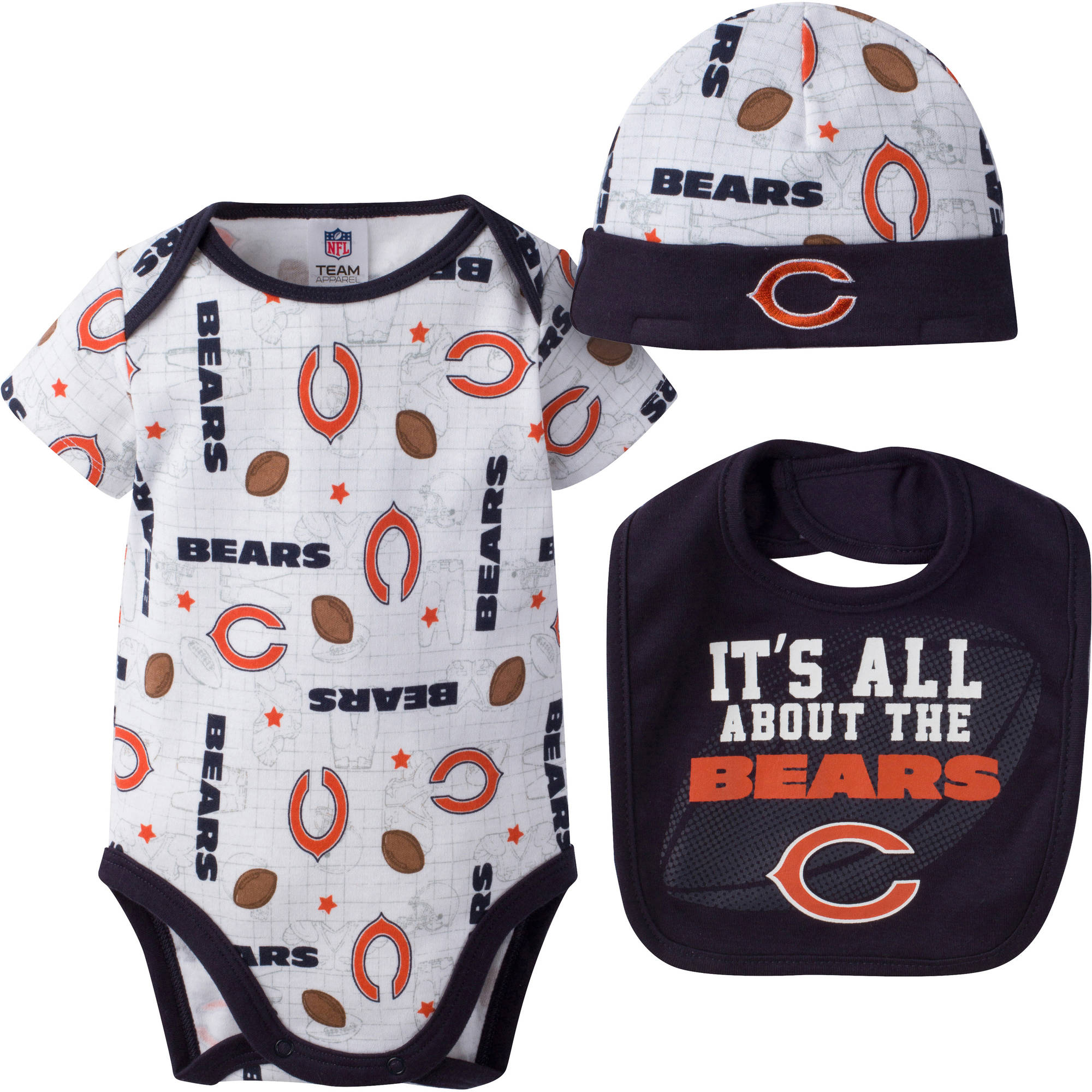 NFL Chicago Bears Baby Boys Bodysuit, Bib and Cap Outfit Set, 3-Piece