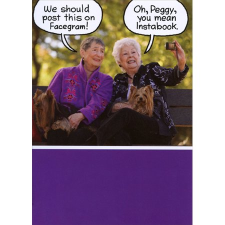 Recycled Paper Greetings Old Ladies On A Bench Funny Birthday Card For Her