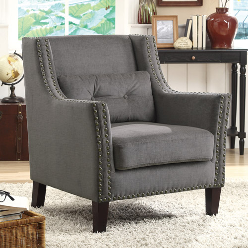 Sofa Mart Accent Chairs: Coaster Chenille Accent Chair, Grey